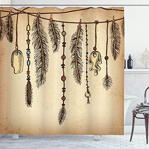 """Ambesonne Tribal Shower Curtain, Bohemian Hair Accessories with Bird Feathers Beads on String Sketch Digital Print, Cloth Fabric Bathroom Decor Set with Hooks, 70"""" Long, Camel Brown"""