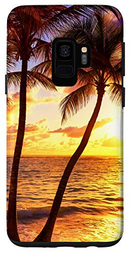Galaxy S9 Palm Tree Green Leaves Summer Tropical Beach Sunset Gift Case