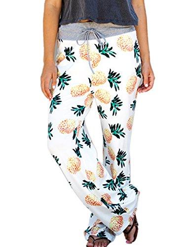 HAEMMA Dames Casual Palazzo Ananas Pineapple patroon brede been Flared uitgewijden Elastisch hoge taille Stretch Plus Size broek met vetersluiting herfst zomer boho lange broek harem leggings