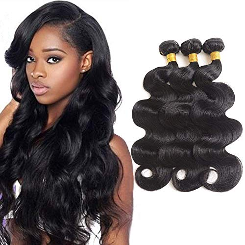 Allnice Brazilian Virgin Hair Body Wave 3 Bundles 9A Grade 100% Unprocessed Virgin Human Hair Weave Bundles Full Head Set Human Hair Extensions Natural Black(14 16 18inch)