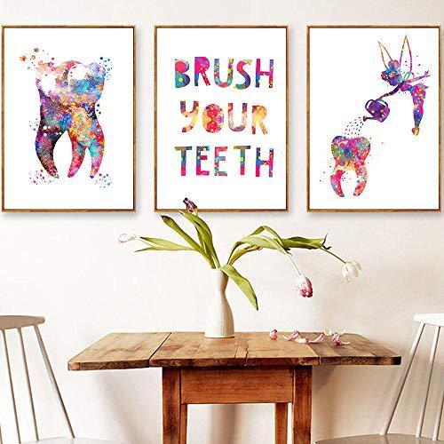 WADPJ gieter met tanden, canvas, muurkunst, printen, citaten, aquarel, tandtekens, schilderen, geneeskunde, kantoordecoratie, 40 x 50 cm, 3 delen zonder lijst