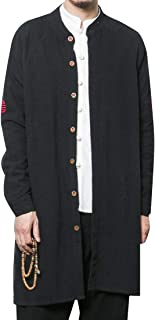 XINHEO Men Kung Fu Linen Blend Single Breasted Trench Coat Jacket