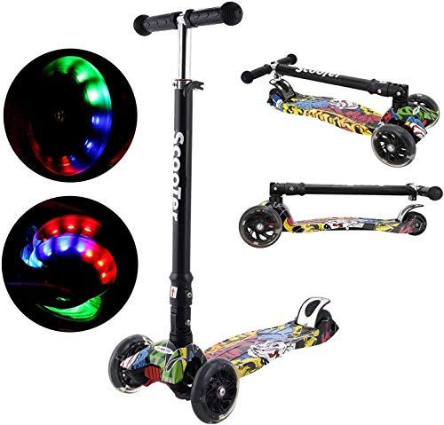 Oppikle 3 Räder Kinder Roller Scooter - Höhenverstellbarer Kinderroller Mit LED Leuchträdern Rollen Und Verstellbare Lenker Für Kleinkinder - Mädchen Oder Jungen Ab 3 Jahren (Schwarz Graffiti)
