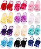 Toptim Baby Girl's Barefoot Sandals Solid Flower for Toddlers (Mixed 12 Pairs)