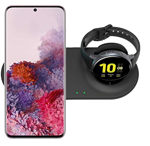 Kartice Qi-Certified Wireless Charger Compatible with Galaxy Watch/Active 2 40mm 44mm, Wireless Charging Stand for Galaxy S20/S20+/S20 Ultra/Note10/Z Flip/Galaxy Buds+/AirPods Pro (No Adapter)