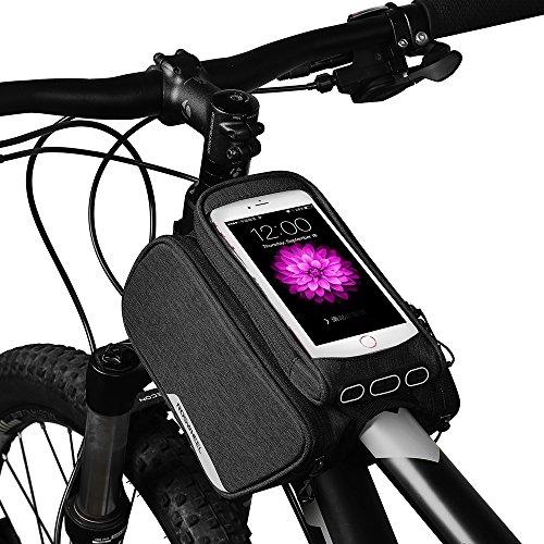 Roswheel 1,5L Fahrrad Rahmentaschen aus 300D Polyester Fahrradtasche für Mountain Bike Road Bike mit Reflektierendem Logo und PVC Touchscreen Handytasche