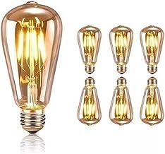 KCBYSS ST64 Retro Edison decoratieve gloeilampen (verpakking van 6 stuks), ouderwetse E27 spiraallampen, zachte warmwitte ...