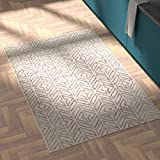 Amazon Brand – Rivet Contemporary Handtufted Cotton-and-Wool Area Rug with Geometric Feathere…