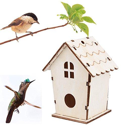 About1988 Vogelhaus-Vogelhäuser Vogelfutterhaus Vogelhäuschen aus Holz Vogelhausständer, Kunstvolle Vogel-Hause mit moderner Form ist aus Holz gemacht geeignet für Kleinsingvögel (C)