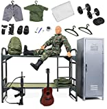 Click N' Play Military Camp Bunk House Life 12' Action Figure Play Set with Accessories, Brown