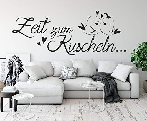 tjapalo® a8 wandtattoo Zeit zum Kuscheln Wandtattoo Schlafzimmer spruch liebe Wandtattoo Wohnzimmer romantisch Wandsprüche paare, Farbe: Schwarz, Größe: B58xH23cm