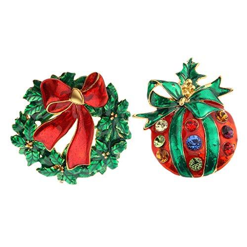 Nobranded 2 Piezas Verde Rojo Navidad Temática Fruta Flor Corona Broche Feliz Navidad Regalos