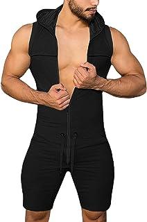 AIEOE Mono para Hombre con Capucha sin Manga Casual para Hogar Camiseta Sexy de Entrenamiento Pantalones Cortos Deportivo