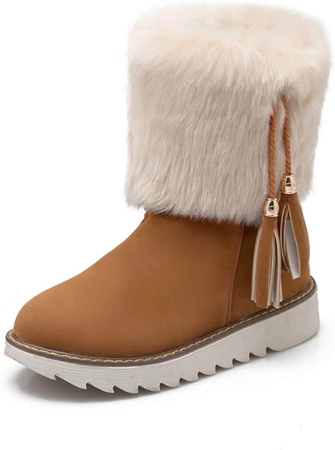 Hoxekle Woman Snow Boots Tassels Faux Fur Slip On Round Toe Casual Comfortable Warm Anti-Slip Winter Mid-Calf Boots