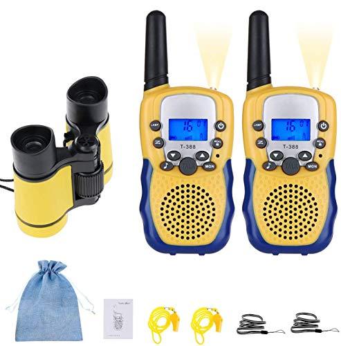 joyoldelf Walkie Talkie Niños y Prismaticos Niños, PMR446 8 Canales LED Linterna Incorporada LCD Pantalla Función VOX Juguete de Camping al Aire Libre Niños y Niñas