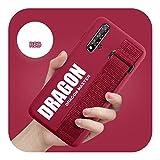 For Huawei Mate 30 20 P40 P30 Pro Y9S Honor Plus V20 9X P20 Lite Nova 3e 7i 4e 5TソフトマットシリコンカバーFundaのおしゃれなハンドSケース-Red Dragon-for Honor 9X STK-LX1