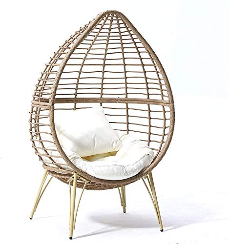 Hanging Chair Rattan Garden Furniture Outdoor Leisure Indoor and Outdoor Hanging Chair Swing Hanging Rattan Chair,Beige