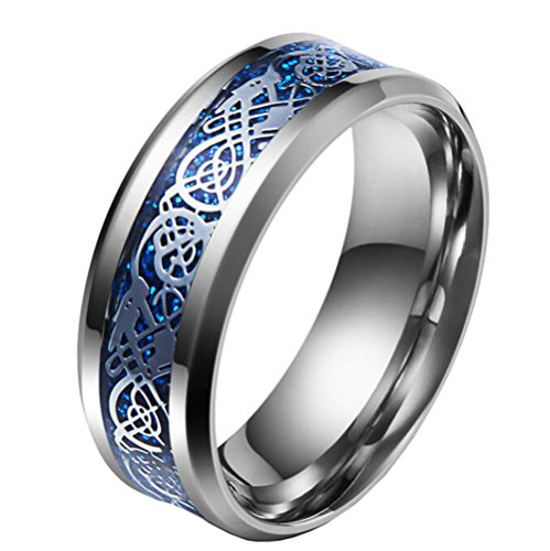 HIJONES Men's Celtic Dragon Blue Carbon Fiber Silver Stainless Steel Ring Wedding Band 8mm Size S