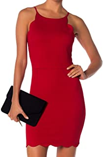 Love… Ady Bodycon Mini Halter Dress with Scallops at Neck and Hem