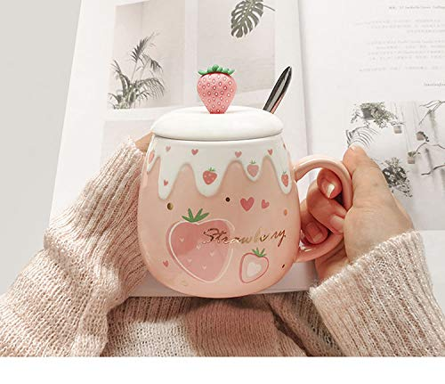 High beauty Cup With Cover Spoon Mug Female Student Korean Version Lovely ins Coffee Cup Household Ceramic Breakfast Cup (Coffee)