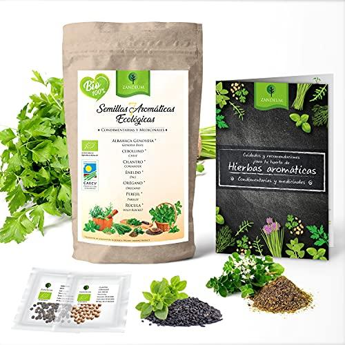 Set de Semillas aromáticas ecológicas huerto urbano. 7 variedades, ideal jardineras, mesa de cultivo o jardin vertical. Albahaca,...