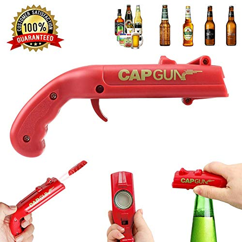 Apribottiglie a forma di pistola giocattolo con lanciatappi, ideale per aprire bottiglie di birra, per bar e feste, lancia i tappi oltre 5 metri