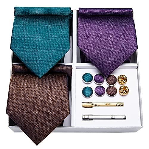 WODMB 3 PAQUETE AZUL PURPURA MARRÓN SÓLIDO SÓLIDO SOLIDO POLLQUETE POLLQUETE PLAZAJE PLAZONAL DE REGALO NEGOCIOS DE LA BODA DE LA BODA DE LA TIENE (Color : Blue Purple Brown, Size : One size)
