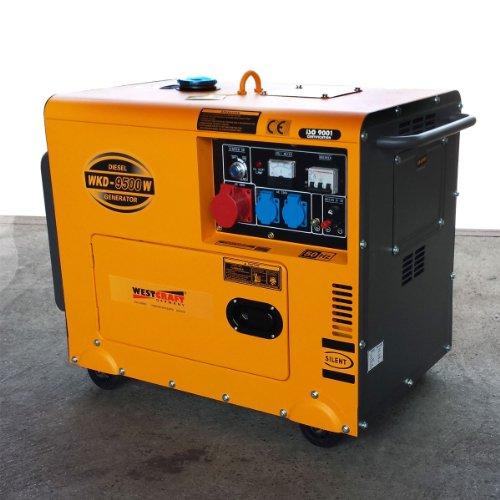 7,35 KW Diesel Stromerzeuger schallgedämmt m. Radsatz Notstromaggregat Generator