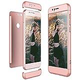 CE-Link Funda para Huawei Honor 8 Rigida 360 Grados Integral, Carcasa Honor 8 Silicona Snap On Diseño Antigolpes Choque Absorción, Honor 8 Case Bumper 3 en 1 Estructura - Oro Rosa