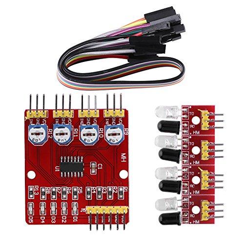 Smart Car Accessories,4-channel Infrared Reflection Tracking Sensor Module Set Smart Car Obstacle Avoidance PCB,3.3V-5V DC