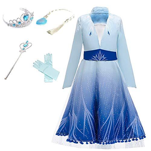 Yigoo ELSA Kleid Kostüm Eiskönigin 2 Prinzessin Mantel Kinder Glanz Kleid Mädchen Weihnachten Verkleidung Karneval Party Halloween Fest 120