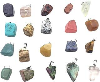 TOYANDONA 20 Kinds Natural Stone Beads Pendants Charms Crystal Stone Quartz Charms Healing Gemstone Rock Charms Random Mix...