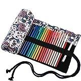 Abaría - Bolso para lápices, grande estuche enrollable para 72 lapices colores, portalápices de lona, bolsa organizador lápices para infantil adulto, blanco 72