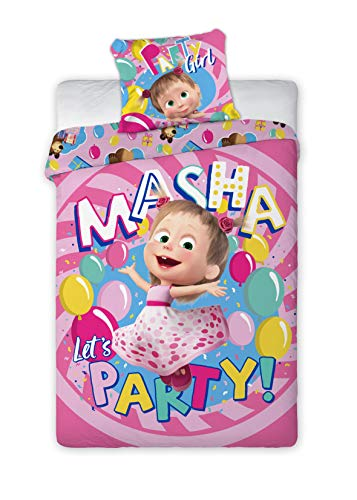 Set Letto Masha E Orso Let's Party Girl Copripiumino e Federa Cotone 140x200cm