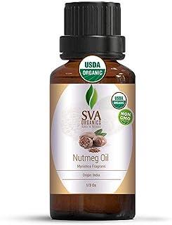 SVA Organics Nutmeg Essential Oil 1/3 Oz Organic Premium Therapeutic Grade 100% Pure Natural Undiluted USDA...