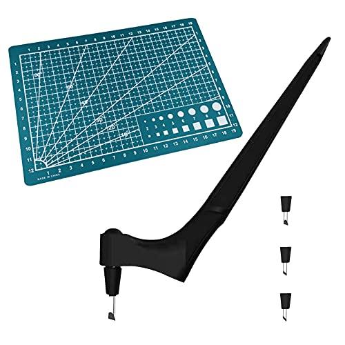 Art Schneidemesser Set - 1 Präzisions-Edelstahl-Bastelmesser + 1 Cutting Board + 3 Cutter Head, 360-Grad-Craft-Schneidwerkzeuge, Bastelmesser Cuttermesser Skalpell, Kunst Schneidewerkzeug (Schwarz)