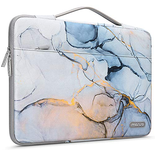 MOSISO Laptop Sleeve 360 Protective Case Bag Compatible with MacBook Pro 16 inch 2019 2020, 15 15.4 15.6 inch Dell Lenovo HP Asus Acer,Polyester Shockproof Briefcase with Trolley Belt Marble MO-MBH190