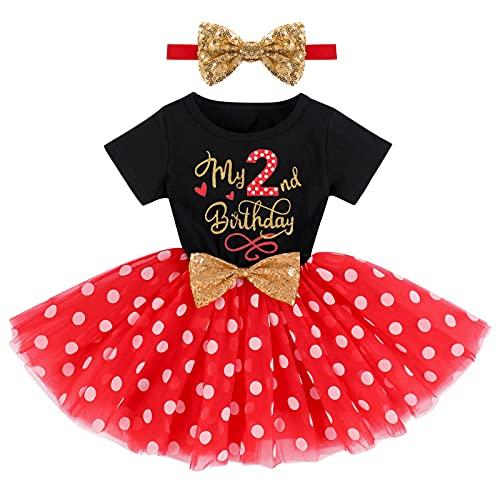 FYMNSI Vestido de fiesta de cumpleaños para bebé, de algodón, de manga corta, tutú con lentejuelas y cinta para la cabeza, juego de 2 piezas, Negro + rojo - 2º cumpleaños, 2 Años