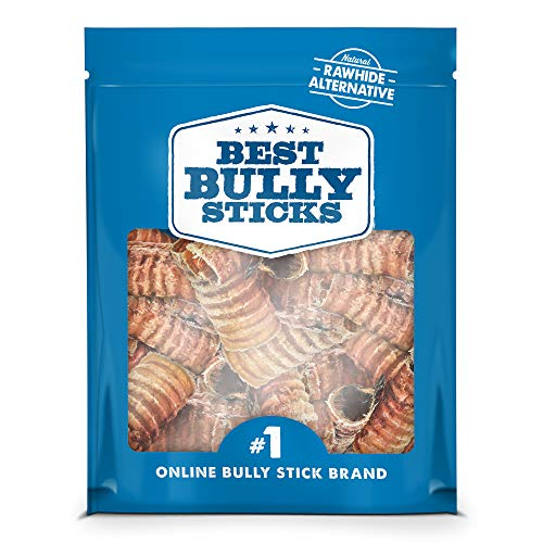 Best Bully Sticks Premium 3-inch Beef Trachea Dog Chews (50 Pack) - All-Natural, Grain-Free, 100% Beef, Single-Ingredient Dog Treat Chew - Promotes Dental Health