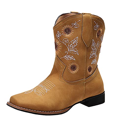 ZYAPCNGN Platform Ankle Boots for Women Cowgirl Booties Western Cowboy Boots Sunflowers Embroidery Boots