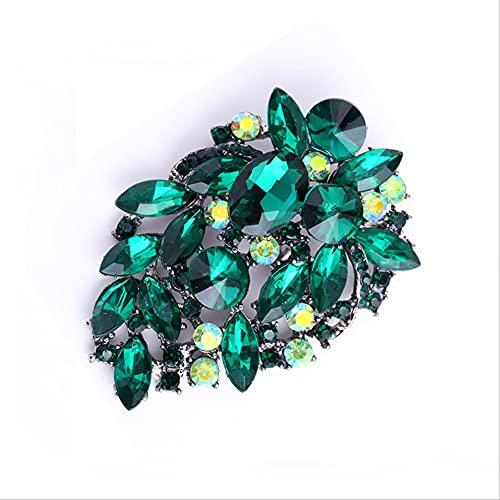 HHBB Señoras broche grande gota de agua cristal Pin banquete lujo traje Pin Accesorios regalo 01 verde