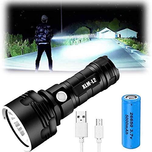 Linterna LED XLM-P70 - Linterna de alta potencia de 30000-10000 lúmenes, 3 modos, linterna impermeable super brillante, linterna recargable USB potente portátil (25 W XLM-L2, batería individual)