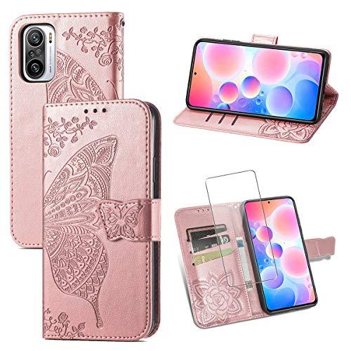 Funda para Xiaomi Redmi Note 10 Pro, Rosa PU Cuero Billetera Flip Protectora Carcasa con UNO Cristal Templado Protector de Pantalla para Xiaomi Redmi Note 10 Pro/Note 10 Pro MAX 4G (6.67 Pulga