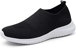 konhill Men's Athletic Walking Shoes - Lightweight Casual Knit Slip on Sneakers