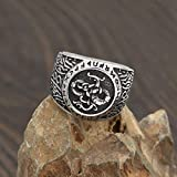 Male Ring Wholesale Retro Weijing Longlua Row Rune Ring Domineering Men's Ring Jewelry (Color : Steel Color, Size : 13)