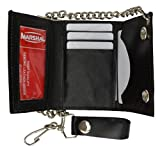 BLACK GENUINE LEATHER Trifold Biker's Wallet ID Card Holder w/Chain Skull