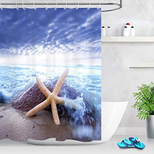 LB Olas del mar Cortinas de baño Estrella de mar por el océano Largas Resistente al Agua Antimoho Tejido de Poliéster Decoración de Baño,150X180CM