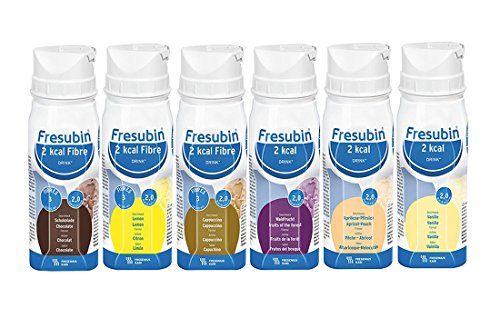 Fresubin 2kcal + 2kcal fibre DRINK Mischkarton / 6 Geschmacksrichtungen - Trinknahrung - 24 EasyDrinks (je 200 ml)