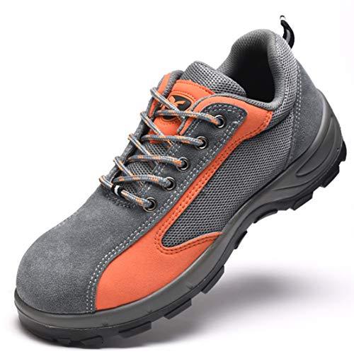 QZBAOSHU Femme Homme Outdoor Marche Nordique Chaussures 45 EU (Taille de l'étiquette 45) Gris + Orange