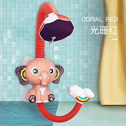 XKMY Juguete de baño Nuevos juguetes de baño Juego de agua para bebés Elefante Modelo Grifo Ducha Eléctrico Agua Spray Juguete Natación Baño Juguetes para Niños Regalos (Color: Rojo sin caja)
